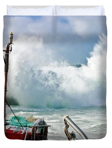 Wild Waves In Cornwall Duvet Cover by Terri Waters