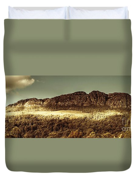 Wild West Mountain Panorama Duvet Cover