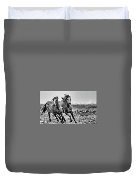 Duvet Cover featuring the photograph Wild West Wild Horses by Kelly Marquardt