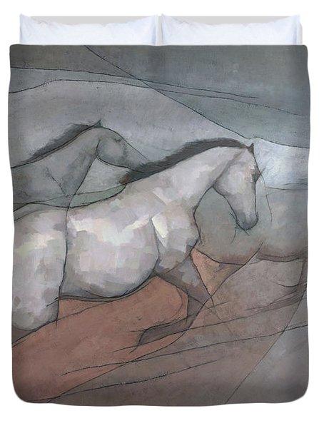 Wild White Horses Duvet Cover