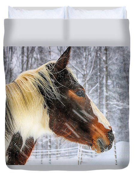 Wild Winter Storm Duvet Cover by Elizabeth Dow