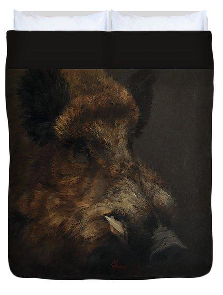 Wildboar Portrait Duvet Cover