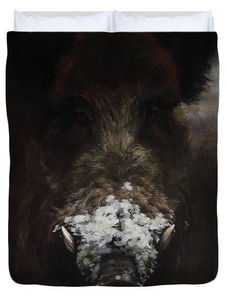 Wildboar With Snowy Snout Duvet Cover