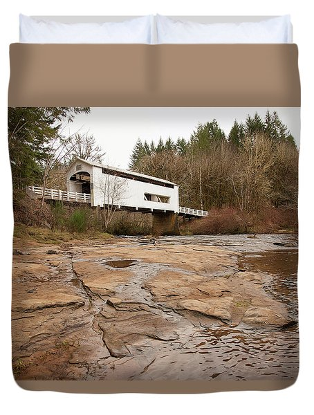 Duvet Cover featuring the photograph Wildcat Bridge In Winter by Mary Jo Allen