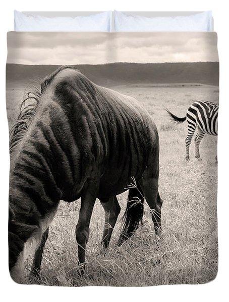 Wildebeest And Zebra Duvet Cover