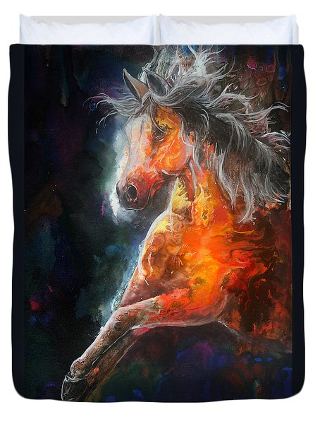 Duvet Cover featuring the painting Wildfire Fire Horse by Sherry Shipley