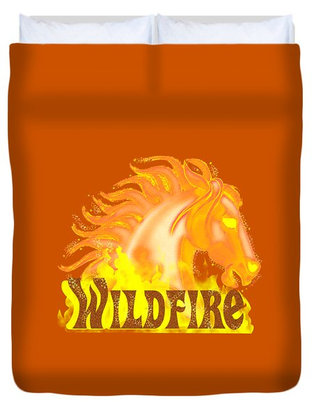Duvet Cover featuring the mixed media Wildfire by J L Meadows