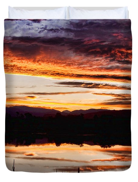 Wildfire Sunset Reflection Image 28 Duvet Cover by James BO  Insogna