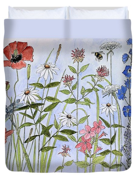 Wildflower And Blue Sky Duvet Cover