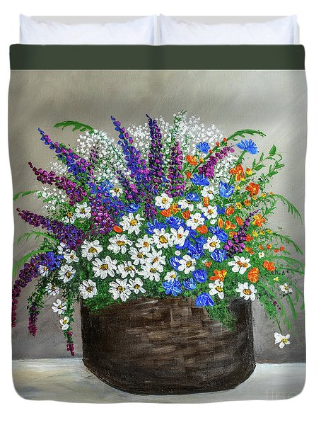 Duvet Cover featuring the painting  Wildflower Basket Acrylic Painting A61318 by Mas Art Studio