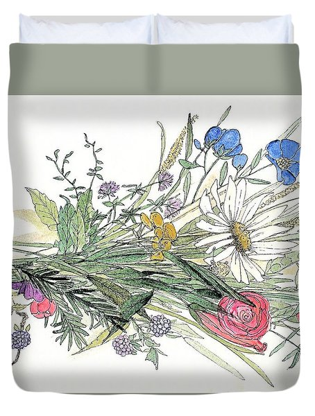 Wildflower Bouquet Duvet Cover