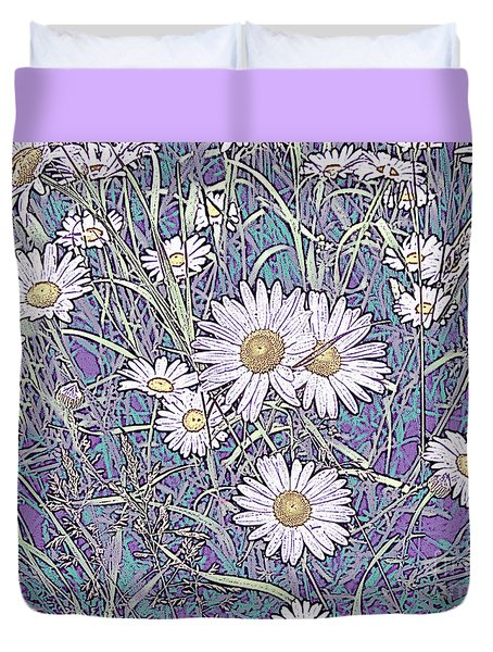 Wildflower Daisies In Field Of Purple And Teal Duvet Cover