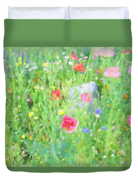 Duvet Cover featuring the photograph Wildflower Day by Kathy Bassett