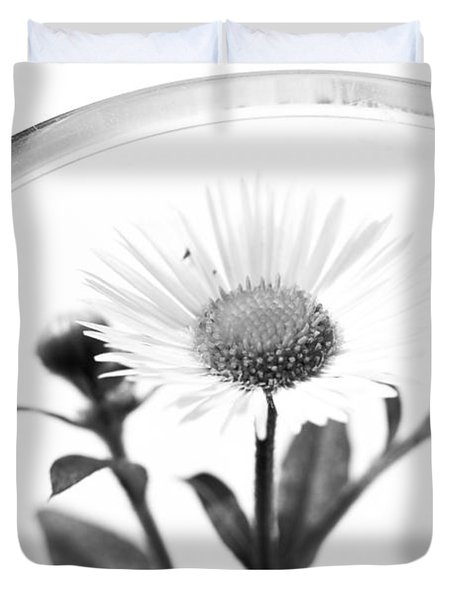 Wildflower In A Wine Glass Black And White Duvet Cover