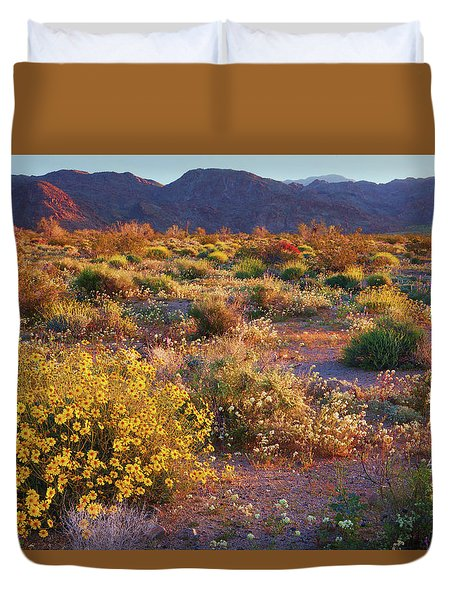 Duvet Cover featuring the photograph Wildflower Meadow At Joshua Tree National Park by Ram Vasudev