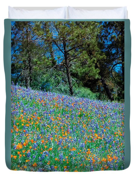 Duvet Cover featuring the photograph Wildflower Meadow - Figueroa Mountains California by Ram Vasudev
