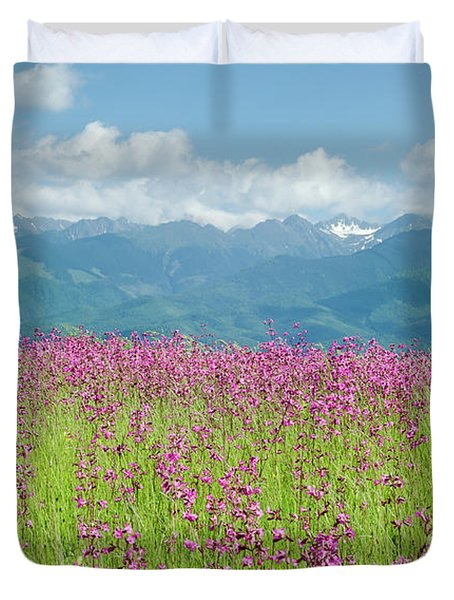 Wildflower Meadows And The Carpathian Mountains, Romania Duvet Cover