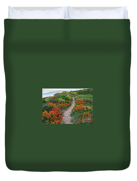 Wildflower Path At Ribera Beach Duvet Cover