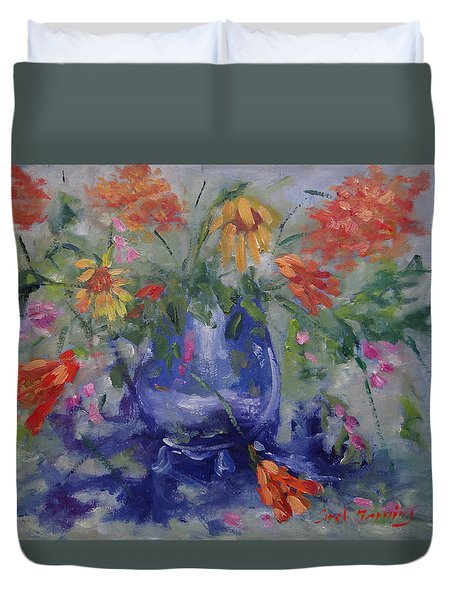Duvet Cover featuring the painting Wildflower Serenade by Carol Berning