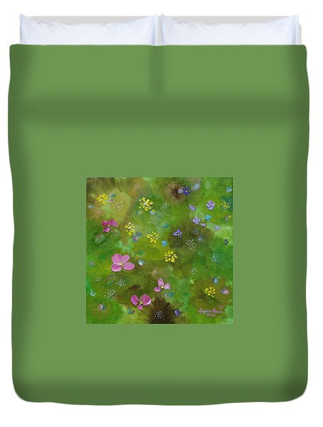 Duvet Cover featuring the painting Wildflower Support by Judith Rhue