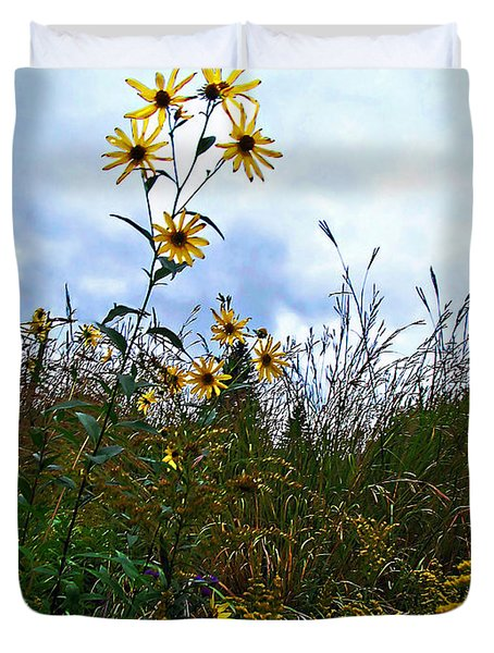Duvet Cover featuring the photograph Wildflowers And Mentor Marsh by Joan  Minchak