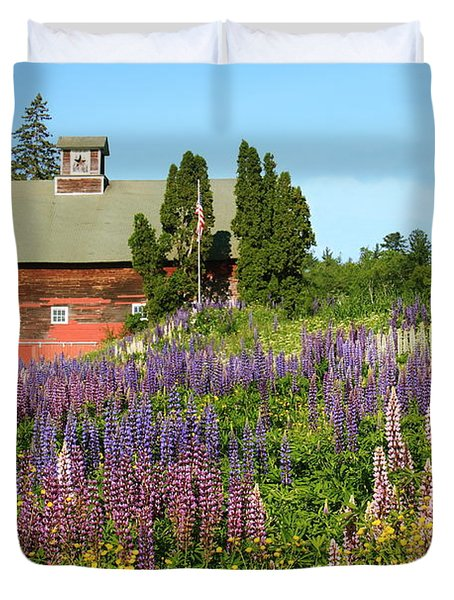 Duvet Cover featuring the photograph Wildflowers And Red Barn by Roupen  Baker