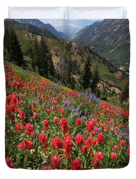 Wildflowers And View Down Canyon Duvet Cover by Brett Pelletier