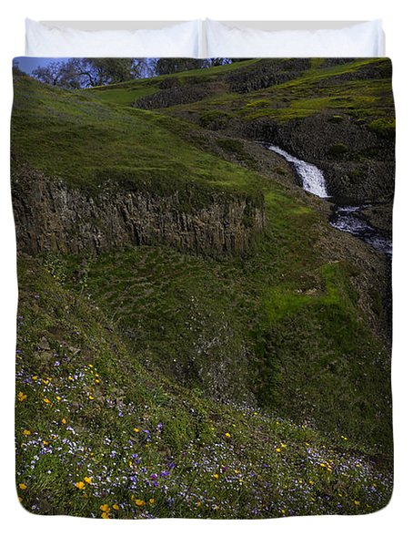 Wildflowers By Waterfall Duvet Cover