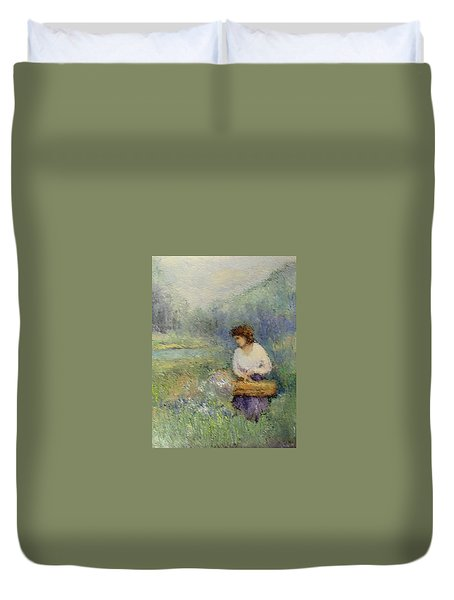 Duvet Cover featuring the painting Wildflowers by Gail Kirtz