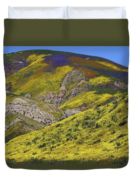 Wildflowers Galore At Carrizo Plain National Monument In California Duvet Cover by Jetson Nguyen