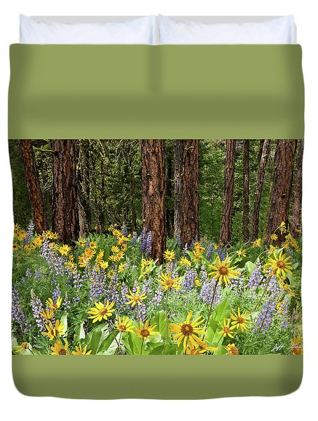 Balsamroot And Lupine In A Ponderosa Pine Forest Duvet Cover