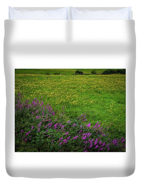 Duvet Cover featuring the photograph Wildflowers In An Irish Field by James Truett