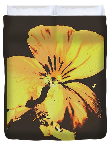 Wildflowers In Posterization Duvet Cover