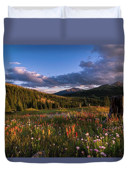 Wildflowers In The Evening Sun Duvet Cover