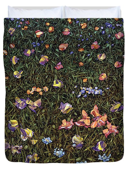 Duvet Cover featuring the painting Wildflowers by James W Johnson