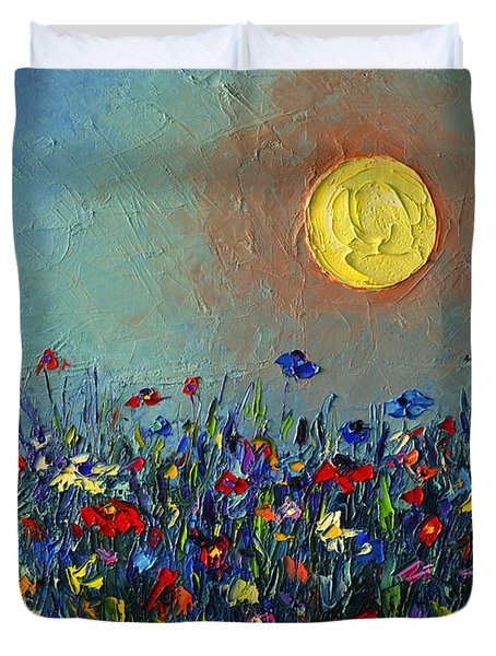 Wildflowers Meadow Sunrise Modern Floral Original Palette Knife Oil Painting By Ana Maria Edulescu Duvet Cover