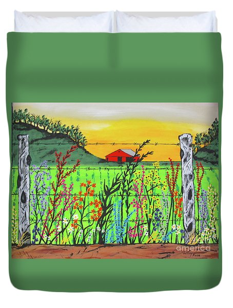 Wildflowers On The Farm Duvet Cover