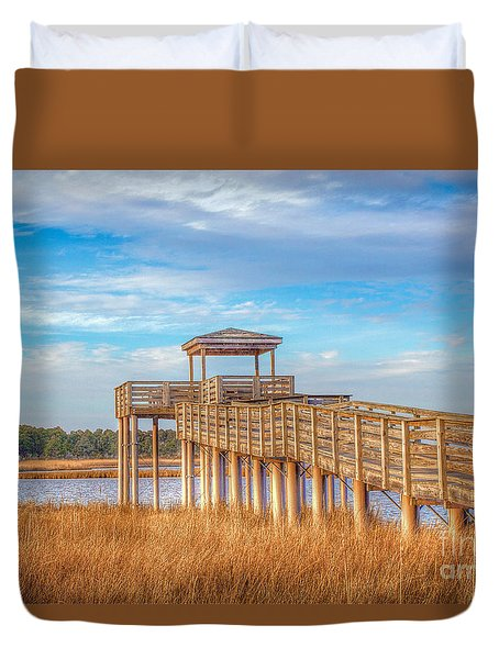 Wildlife Viewing Pier Duvet Cover by Marion Johnson