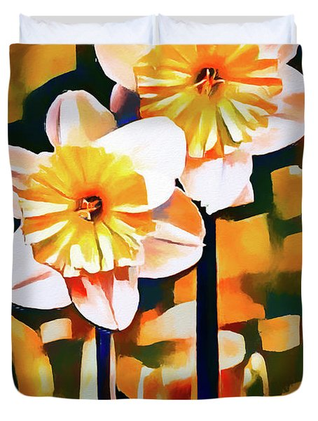 Wildly Abstract Daffodil Pair Duvet Cover