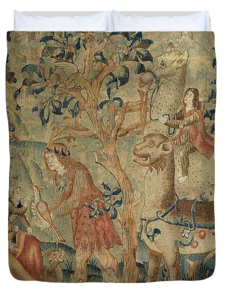 Wildmen And Animals In A Landscape Fragment, Anonymous, C. 1500 - C. 1520 Duvet Cover