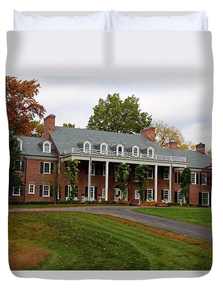 Wildwood Manor House In The Fall Duvet Cover by Michiale Schneider