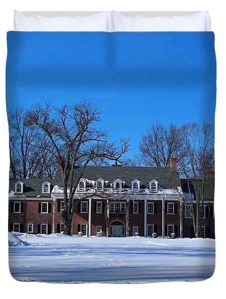 Wildwood Manor House In The Winter Duvet Cover
