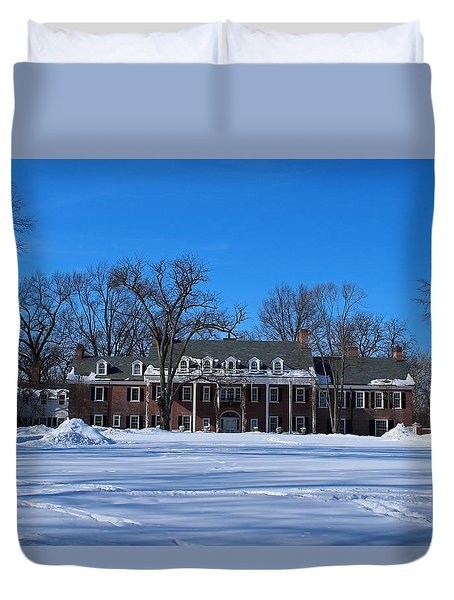 Wildwood Manor House In The Winter Duvet Cover by Michiale Schneider
