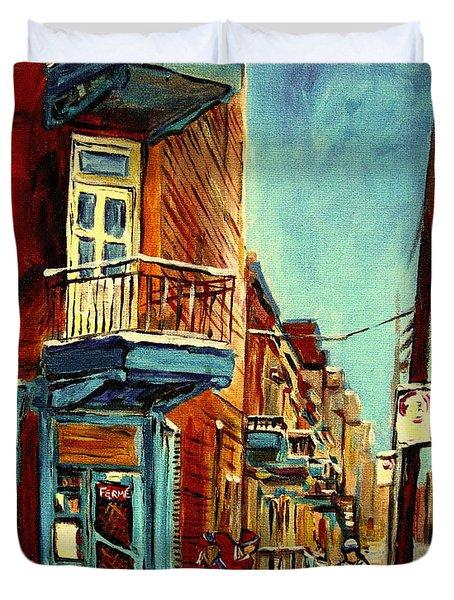 Wilensky's Corner Fairmount And Clark Duvet Cover by Carole Spandau