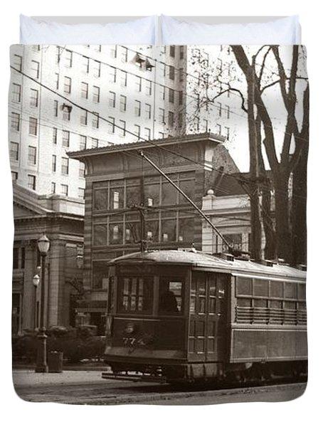 Wilkes Barre Pa Public Square Oct 1940 Duvet Cover