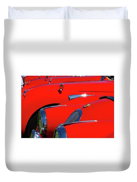 Duvet Cover featuring the photograph Will The Owner Of The Red Car by John Schneider
