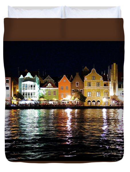 Duvet Cover featuring the photograph Willemstad, Island Of Curacoa by Kurt Van Wagner