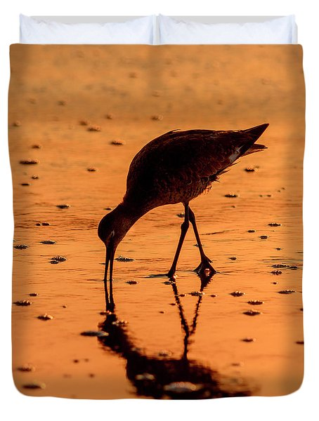 Duvet Cover featuring the photograph Willet On Sunrise Surf by Steven Sparks