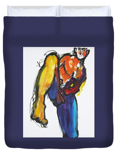 Duvet Cover featuring the painting William Flynn Kick by Shungaboy X