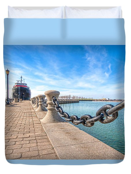 Duvet Cover featuring the photograph William G. Mather At Harbor by Brent Durken
